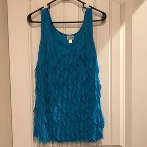 Classy blue frilly tank top
